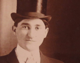 1910's Handsome Man In A Stovepipe Hat Photo Booth Style Photo - Free Shipping