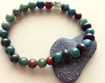 Mans Bracelet - Jasper Bracelet - Greens and Browns Bracelet