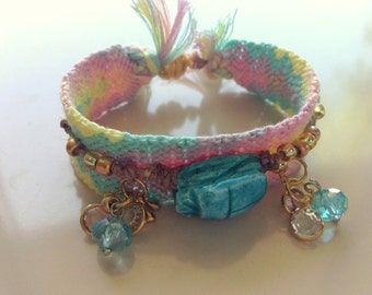 Pastel Friendship Bracelet with Handmade Scarab and Crystals 1 inch wide - Two Bracelets in One