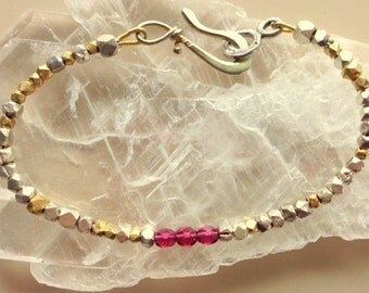 Real Natural Faceted Ruby, Silver, and Gold Nuggets Bracelet