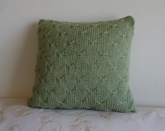 """Hand-knitted 16x16 inches throw pillow cover with zipper. """"Frosty Green"""""""