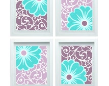 Popular Items For Turquoise Purple Art On Etsy