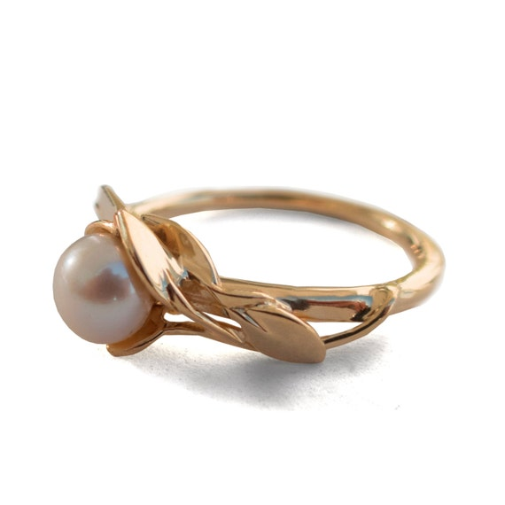 Leaves Engagement Ring No.6 18K Rose Gold And Pearl