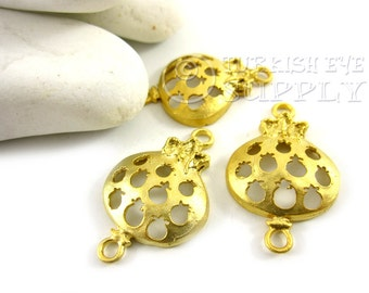 3 pc Pomegranate Connector Charms, Matte 22K Gold Plated Brass Pomegranate Charm, Turkish Jewelry