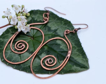 Celtic earrings oval spirals hammered copper wire jewellery Celtic copper jewelry nature drop earrings long Celtic copper wire natural OAAK
