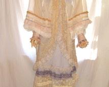 Handmade women's clothing, white sheer colorful lace embellished top bolero for women, white sheer lace bridal bolero, chiffon bolero shrug