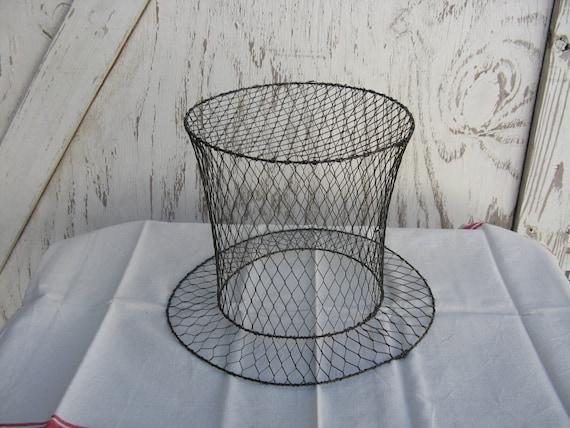 Vintage Metal Chicken Wire Top Hat Bare Metal Skeleton