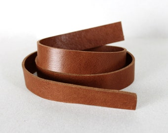 Genuine Brown Leather Strap, Double-sided, Brown,20 mm (3/4 inch) 50 inches(1340)