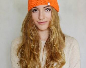 Neon Hat Massive Orange Pom Pom hat  Fluorescent Hot
