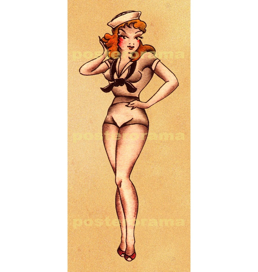 vintage tattoo art Pin up Girl POSTER art large by POSTERORAMA: https://www.etsy.com/listing/157493940/vintage-tattoo-art-pin-up...