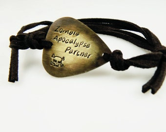 Guitar Pick Bracelet, Zombie Apocalypse Partner,  Walking Dead , Hand Stamped, Brass or Silver Aluminum, Halloween Jewelry Black Friday