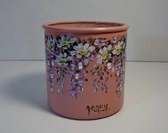 Hand Painted, Mauve, Storage Jar, Utensil Jar, Glass Jar, Vase, Flower Pot, Garden Design, Hydrangeas, Daisies, Flower Painting, Home Decor.