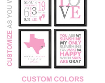 girl birth announcement wall art, baby girl room decor birth stats PRINT/CANVAS/DIGITAL, baby girl nursery wall art, baby girl bedrooom art
