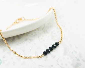 Black bead bracelet, beaded bracelet, black crystal bead,gold chain bracelet,cute bracelet, friendship bracelet, gold chain, dainty bracelet