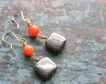 Square Shimmery Pyrite and Orange Carnelian Dangle Earrings
