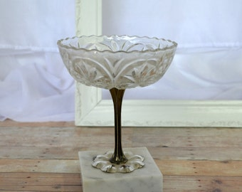 Glass pedestal bowl with marble base; made in Italy