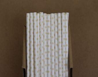 25 ivory polka dots straws (PS2108)  - beige party straws - with printable DIY flags