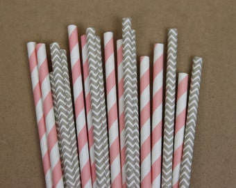 50 light grey chevron & pink striped(PS1015/PS0005) paper straws assortment - with printable DIY flags