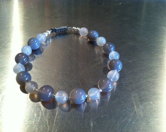 Gray and Milky Clear Agate Beaded Bracelet With Czech Glass and Sterling Silver Beads