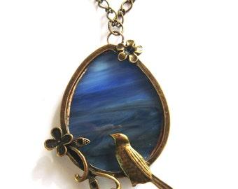 Bird Necklace - Blue Stained Glass Bird Jewelry
