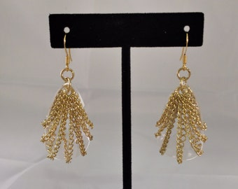 Gold Chain & Swarovski Crystal Earrings