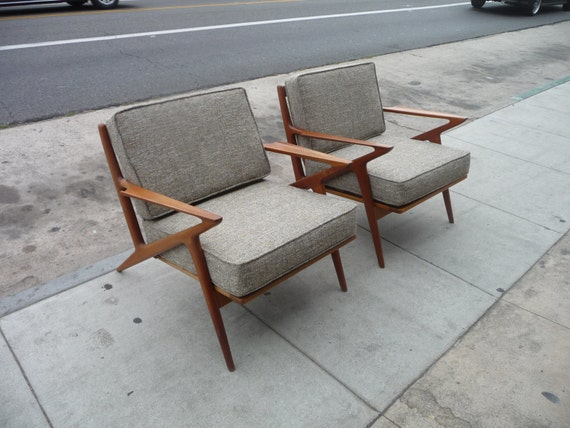 Pair of selig z chairs mid century modern danish chairs danish for Z chair mid century