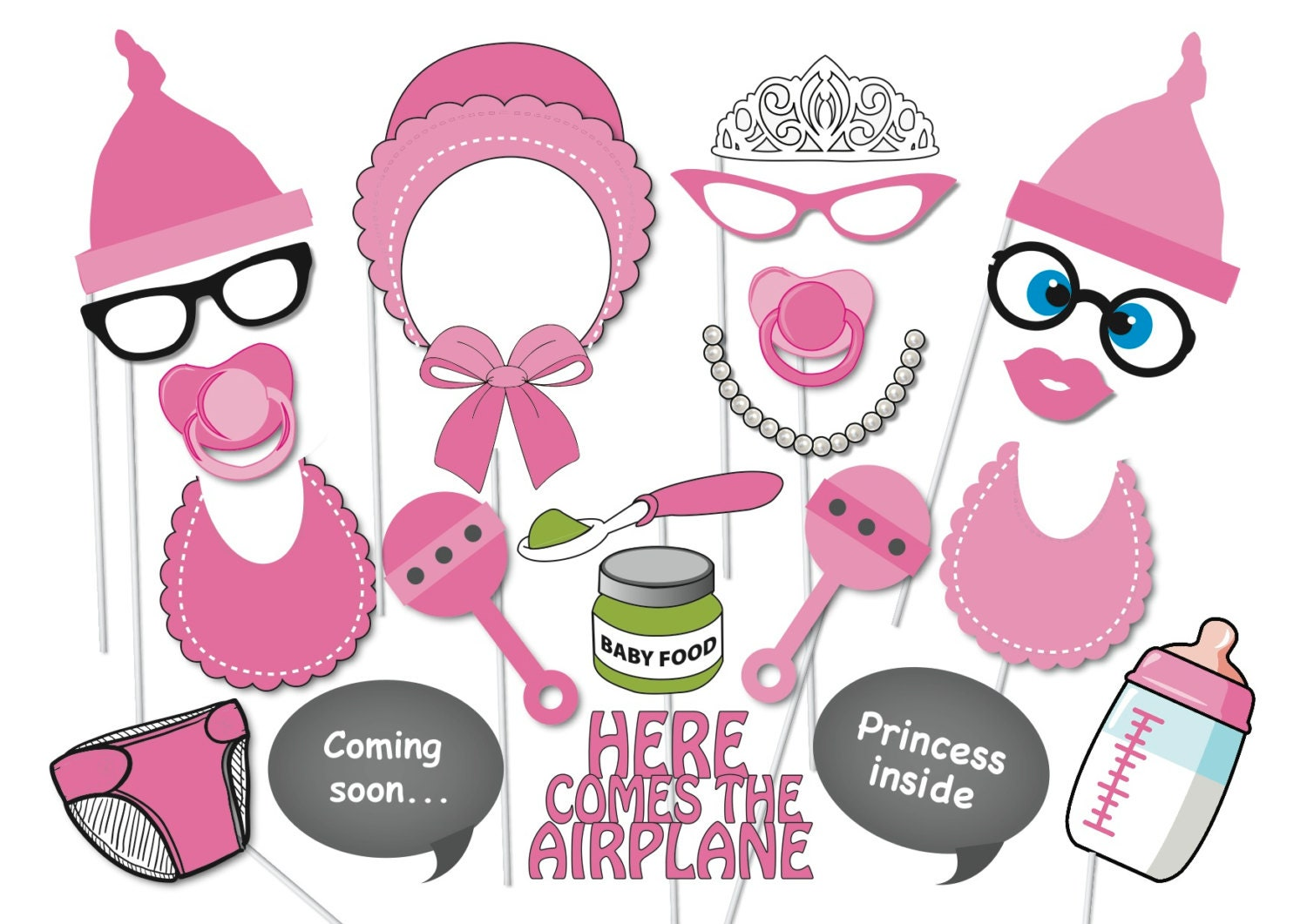 girl baby shower photobooth party props set 22 by thequirkyquail