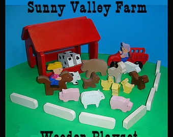 Handcrafted  Wooden Farm Play Set  - Ready to Ship