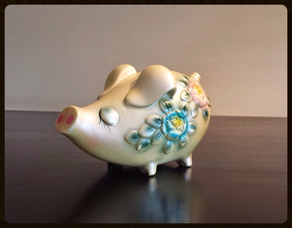 Vintage ceramic piggy bank with painted roses by for How to paint a ceramic piggy bank