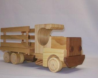 Handmade wood toy flat-bed/side-rail truck