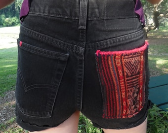 Peruvian Textile on High Waisted Black Shorts