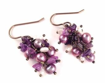 Genuine Amethyst & Freshwater Pearl Cluster Earrings