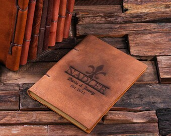 Personalized Monogrammed Engraved Notebook Leather Travel Diary Sketchbook Journal (024205)