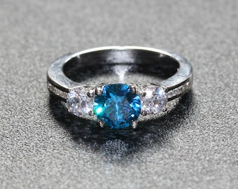 Natural London Blue Topaz and White sapphire Trilogy ring  - available in white gold orsterling silver - engagement ring - wedding ring
