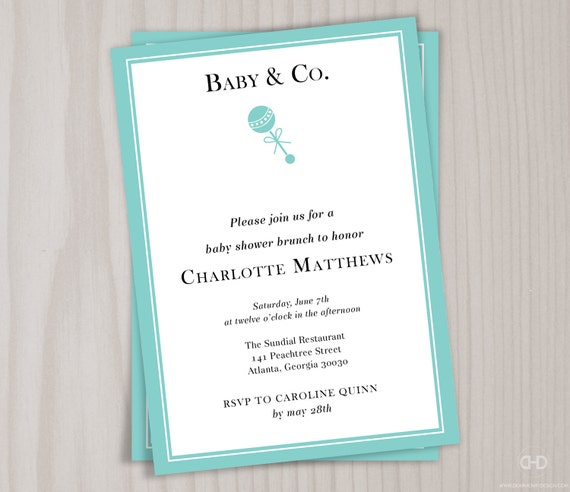 Baby and Co Baby Shower Invitation Robins Egg Blue Baby – Garden Party Baby Shower Invitations