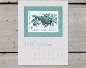 2014 Calendar Birds and Butterflies Printable Postal Stamp Art PDF