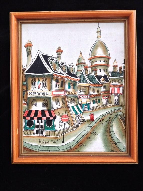 Vintage Original Signed Oil Painting Of Paris Street By