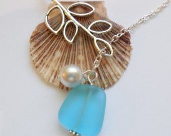 Turquoise Bay Sea Glass Necklace, Charm necklace, Pearl, Silver Branch, bridesmaid necklace, beach wedding.  FREE SHIPPING within the U.S.