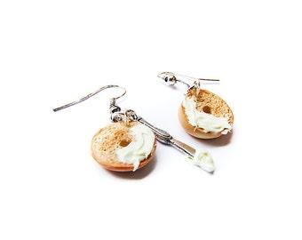 Bagel Earrings, Miniature Food Jewelry, Handmade Polymer Clay Miniature Bagel and Cream Cheese