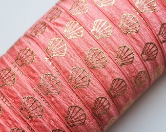 "5/8"" Fold Over Elastic Light Coral with Gold Clams, Metallic, Shiny FOE, Printed"