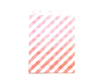 """25 Blush Pink Striped Favor Bags - 5"""" x 7"""" Wedding Treat Bags, Paper Bags"""