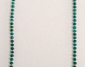 Faceted Turquoise and Sterling Silver Beaded Necklace