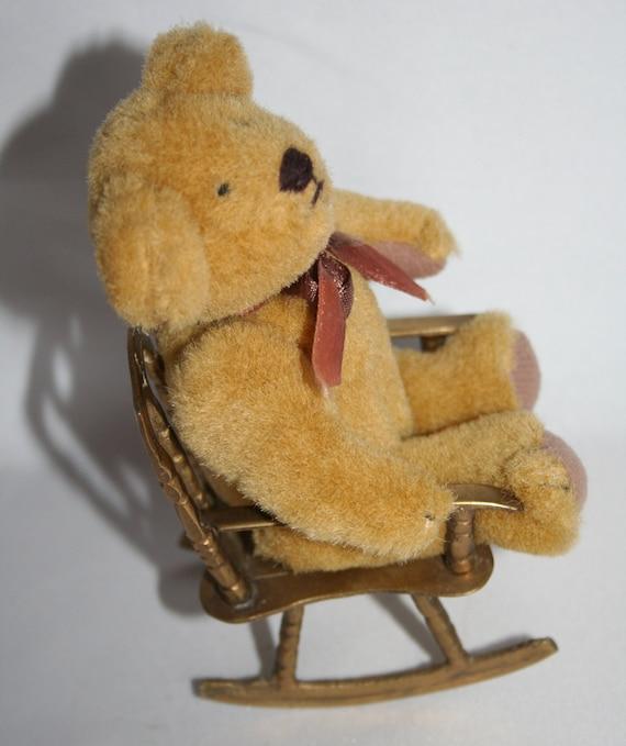 Stunning Small Teddy Bear Sitting In A Brass By MEMsArtShop