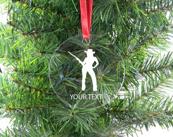 Personalized Custom Cowgirl Clear Acrylic Christmas Tree Ornament with Ribbon