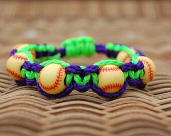 Purple and Lime Green Softball bracelet