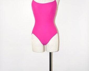 90s magenta swimsuit / fuchsia one piece swim suit / hot pink minimalist maillot