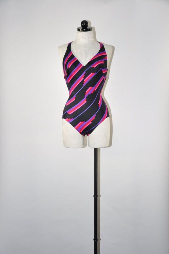 60s one piece swim suit / cutout back bathing suit / purple