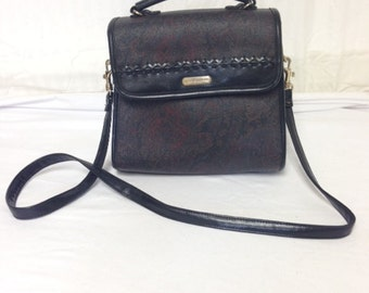 Liz Claiborne purse,bag, Paisley ,Black, Red, Shoulder Bag, PVC ,leather trim,top handle