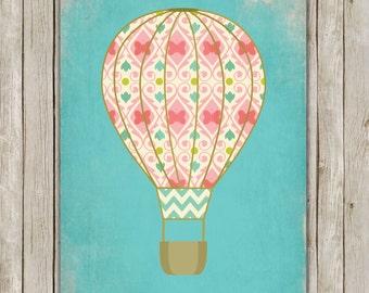 8x10 Hot Air Balloon Printable, Hot Air Balloon Nursery Print, Teal Nursery Printable, Nursery Decor, Poster, Instant Digital Download
