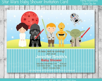star wars digital baby shower invitation card printable